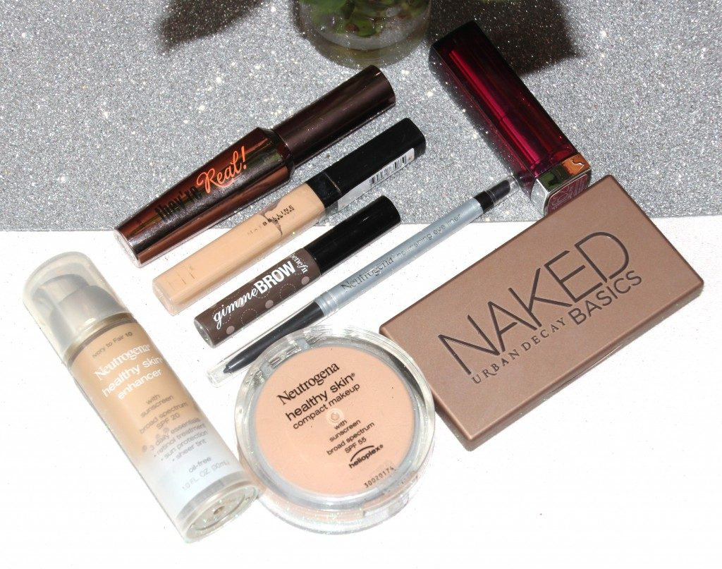 Urban-decay-Naked-Basics-Neutrogena-Healthy-Skin-Benefit-Gimme-brow-Neutrogena-nourishing-eye-liner-Maybelline-fit-me-concealer-Maybelline-lipstick-Benefit-They're-real-mascara