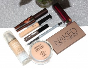Urban-decay-Naked-Basics-Neutrogena-Healthy-Skin-Benefit-Gimme-brow-Neutrogena-nourishing-eye-liner-Maybelline-fit-me-concealer-Maybelline-lipstick-Benefit-Theyre-real-mascara-300x